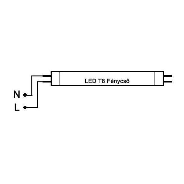 LED fénycső T8 20W 1200mm 4000K alu-plastic