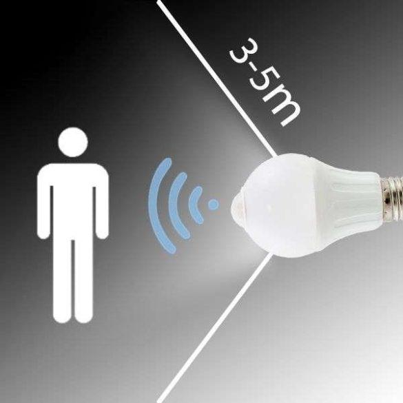 Aigostar LED izzó A60B E27 6W 280° A5S Hideg fehér mozgásérzékelős