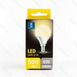 Led gömb izzó, G45, E14, 6W, természetes fehér szín, 3 év garancia.
