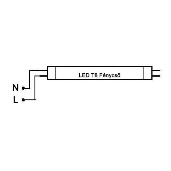LED fénycső T8 24W 1500mm 6000K alu-plastic