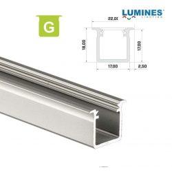 Led profil led szalagokhoz Beépíthető Mély  ezüst 1 méteres alumínium
