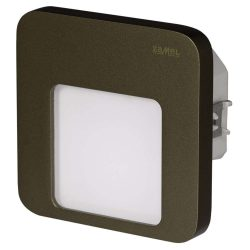Zamel LEDES Beltéri Lépcső és Oldalfali lámpa Beépíthető MOZA 14V Bronz keret Hideg fehér