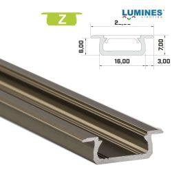 Led profil led szalagokhoz Beépíthető bronz 2 méteres alumínium